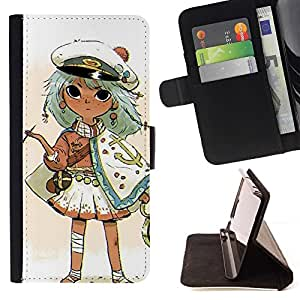 Momo Phone Case / Flip Funda de Cuero Case Cover - Capitán Kids Drawing Oro fumadores - LG G4