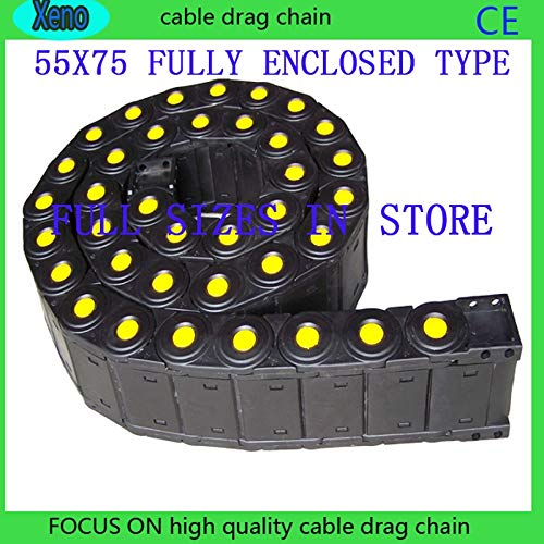 Ochoos 55x75 1 Meters Fully Enclosed Type Plastic Towline Cable Drag Chain for CNC Machine