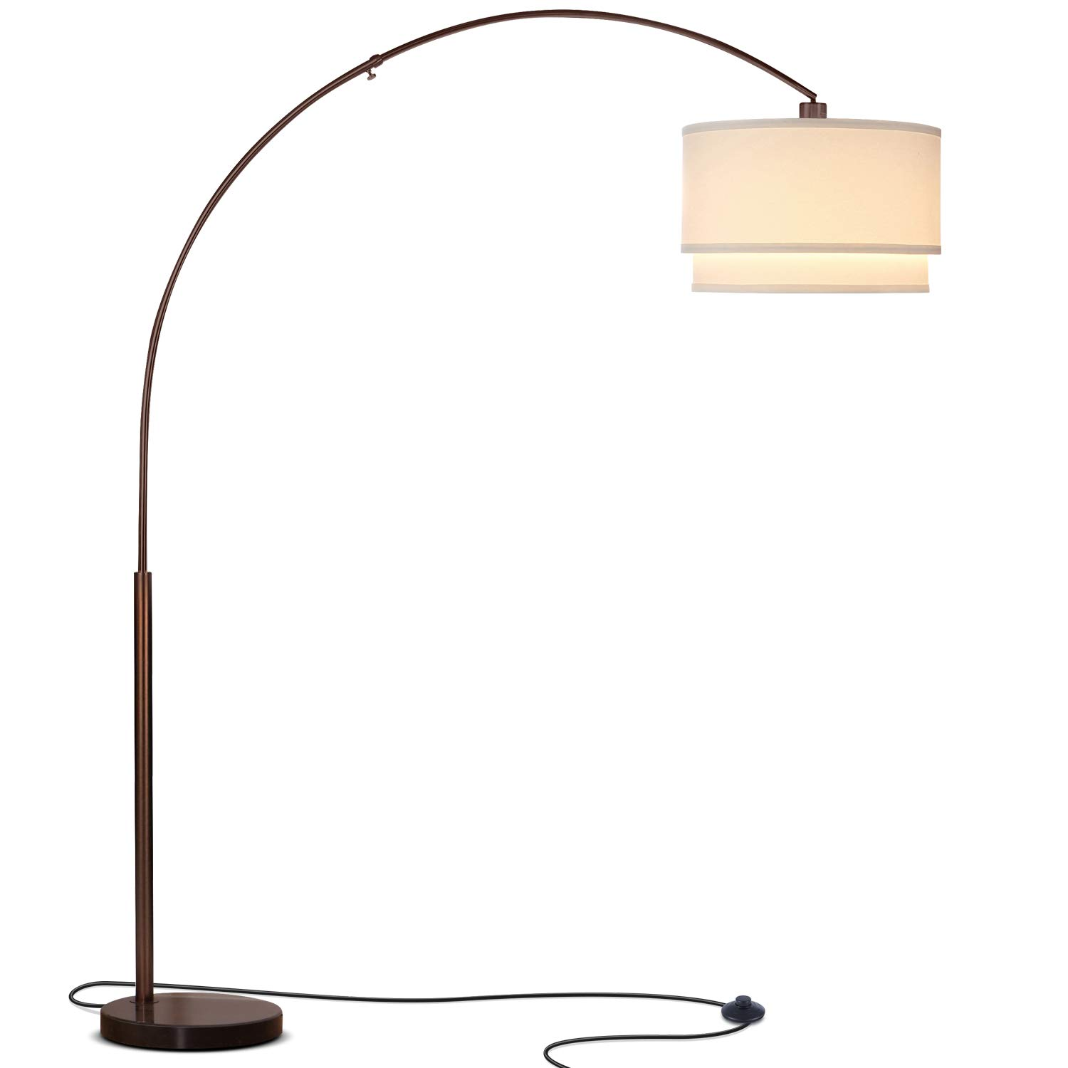 Brightech Mason LED Arc Floor Lamp with Marble Base - Living Room Pole Lighting - Modern, Tall Standing Hanging Light Fits Behind The Couch Or in A Corner - Bronze