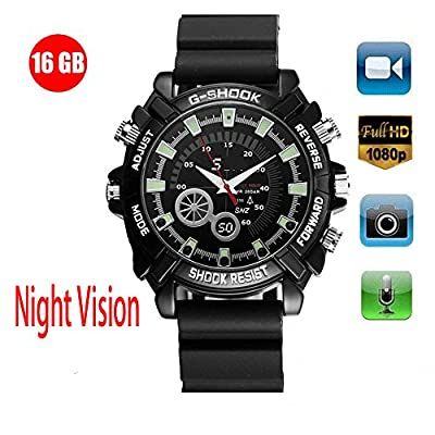 Hidden Camera Watch HD 1080P Video Photograph Record 3 in 1 IR Night Vision Waterproof in Life 16GB from Hairwilly