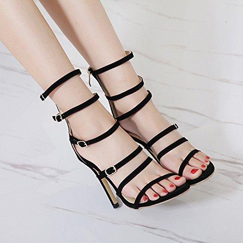 Sandalias De Sexy De De Romanos Zapatos Gladiador Boda De Fiesta Zapatos Las Altos Tobillo De Bombas Hebilla La De Tacones De Correa Mujeres ZPFME Señoras Black Las Tiras 8qEOxY
