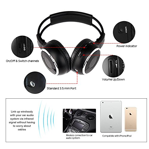 Crusar  Pack Ir Wireless Two Channel Foldable Headphones For Car