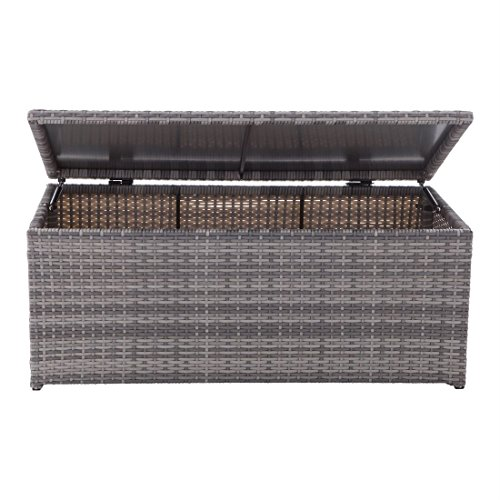 Brylanehome Santiago Deck Box (Gray,0) (Outdoor Wicker Storage Bench)