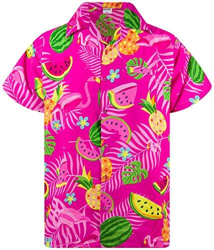Funky Hawaiian Shirt, Shortsleeve, Flamingo Melon, Pink, L