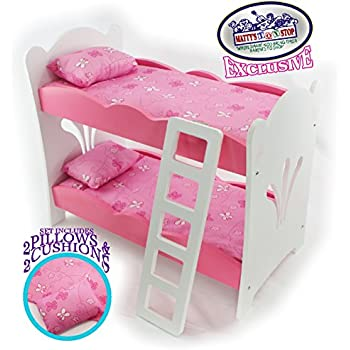 mattyu0027s toy stop 18 inch doll furniture pinkwhite wooden bunk beds with 2 pillows
