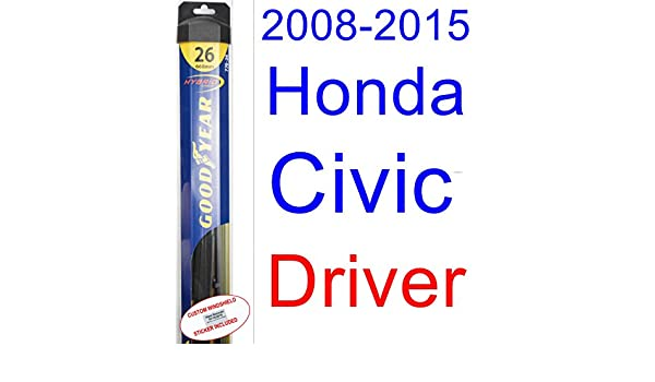 Amazon.com: 2008-2015 Honda Civic Sedan Wiper Blade (Driver) (Goodyear Wiper Blades-Hybrid) (2009,2010,2011,2012,2013,2014): Automotive