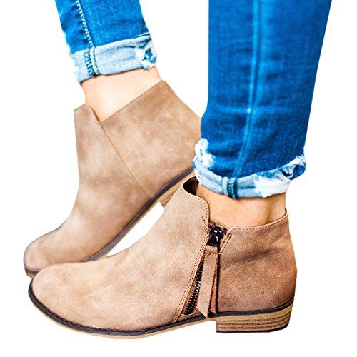 Ofenbuy Women's Leather Pointed Toe Stacked Low Heel Side Zipper Ankle Boots Booties by Ofenbuy