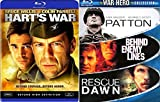 War Blu-Ray Pack Patton / Hart's War / Behind Enemy Lines & Rescue Dawn Set 4 Feature Military movies