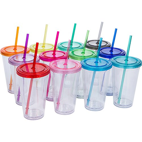 Top House Clear Acrylic Tumblers with Colored Lids and Straws, 16oz Travel Beverage Cups, Insulated Double Wall, Craft Bridesmaid Holiday Gifts, Bulk Pack of 12 (12, Assorted (Assorted Cup)