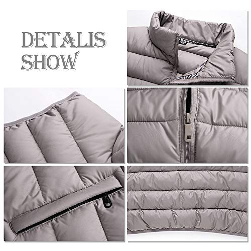 Down Cotton Vest Grey Warm Winter Jacket Waistcoats BOZEVON Autumn Vest Jacket and Men's qvvZBFz