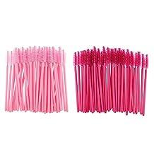 MagiDeal Bulk Lot 100 Pieces Disposable Cosmetic Eyelash Mascara Wands Eye Lash Extension Applicator Makeup Spooler Brush Tool Set Pink + Rose Red