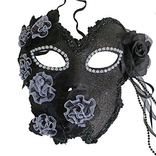 Flower Venetian Masquerade Full Face Lace Women Eye Mask for Costume Mardi Gras (Black) -