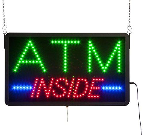 Displays2go Multicolor LED ATM Inside Sign, Black Plastic, Optionally Animated (LEDATM02)