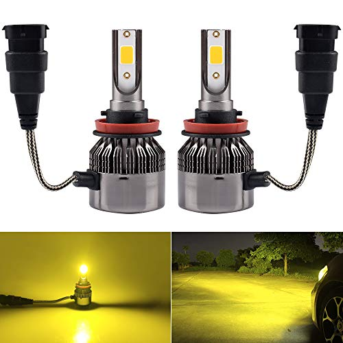 1797 H11 H8 H16(JP) Headlight Fog LED Light Bulbs Amber Yellow 3000K Color for Trucks Cars Lamps DRL Lights Fan Plug Daylight Kit Replacement 12V 24V 72W 7200LM Super Bright COB Chips 1 Year Warranty