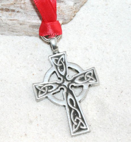 Pewter Celtic Cross Irish Scottish Wales Christmas Ornament and Holiday Decoration (Cross Celtic Christmas Ornament)