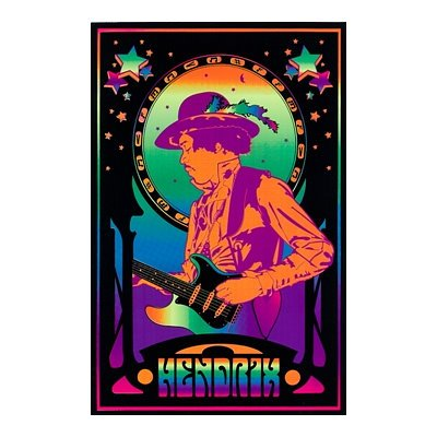 Jimi Hendrix Trippy Flocked Blacklight Music Poster Print