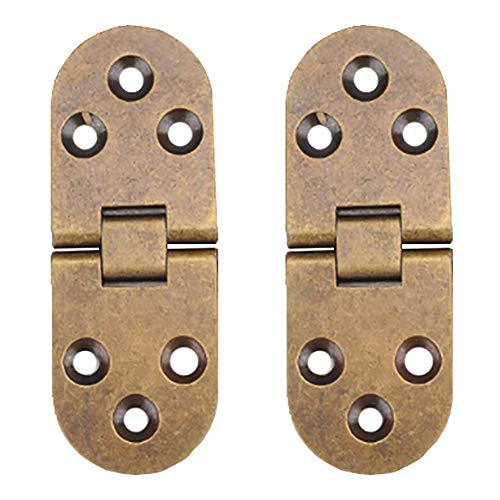 Folding Flip Top Hinge, Tiberham 180 Degree Round Edge Sewing Machine Table Hinge, Heavy Duty Retro Style Butler Tray Backflap Hinges for Folding Table Cabinet Closet Door Furniture (Pack of 2)