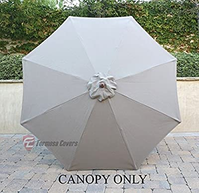 Formosa Covers 9ft Single or Double-Vented Umbrella Replacement Canopy 8 Ribs in Taupe (Canopy Only)