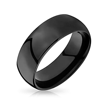 Bling Jewelry Black Tungsten Mens Wedding Band Ring 8mm Amazonco