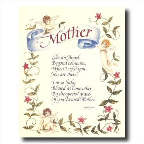 Mother Angel Mom Poem Motivational Flower Wall Picture