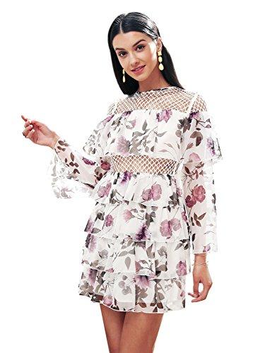 Simplee Women Elegant Chiffon Floral Ruffle Dress Flowy Short Dress Wedding