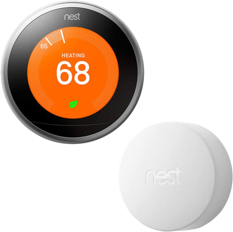 Google Nest T3007ES Learning Thermostat - 3rd Gen - (Stainless Steel) with Nest Temperature Sensor (T5000SF)