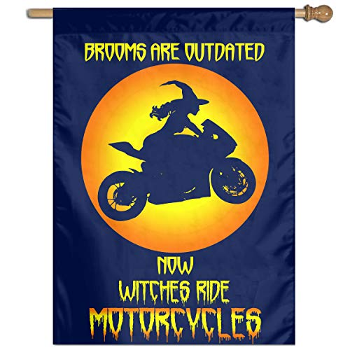 (SRTTYER Halloween Witch with Sport Motorcycle Welcome House Flag Outdoor)