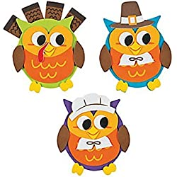 "12 ~ Owl Thanksgiving Foam Magnet Craft Kits ~ 3 3/4"" x 4"" ~ New"