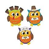 12 ~ Owl Thanksgiving Foam Magnet Craft Kits ~ 3 3/4'' x 4'' ~ New