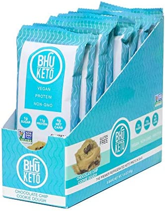 Bhu Keto Chocolate Chip Cookie Dough Protein Bar – 8 Units