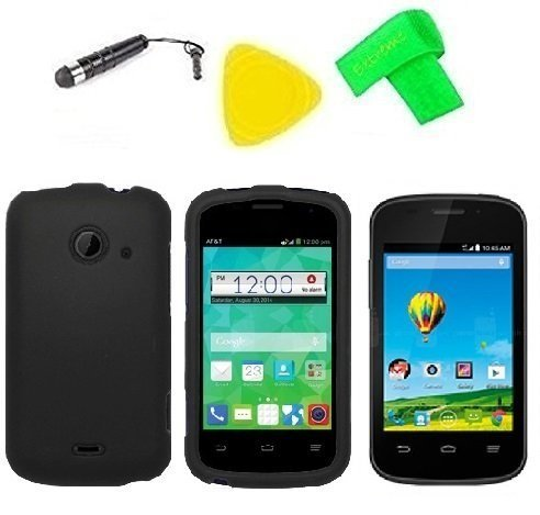 l Phone Accessory + Extreme Band + Stylus Pen + LCD Screen Protector + Yellow Pry Tool For ZTE Whirl 2 Z667G Z 667 G (Black) ()