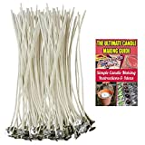 "CozYours 100% NATURAL COTTON CORE CANDLE WICKS WITH TABS FOR CANDLE MAKING, 100 PCS 6"", LOW SMOKE, perfect for making votive, container (jars, tins) and pillar candles (candle wicks for candle making)"