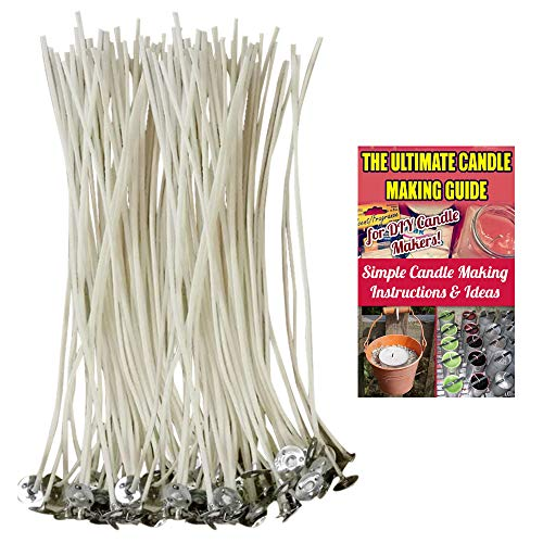 CozYours 6 inch 100% NATURAL COTTON CORE CANDLE WICKS WITH TABS FOR CANDLE MAKING,100 PCS,LOW SMOKE,for making votive,container(jars,tins)and pillar candles (candle wicks for candle making)+ 2 E-BOOKS