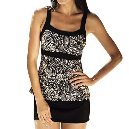 Witspace Women Tankini Sets With Boy Shorts Ladies Bikini Set Swimwear Push-Up Padded Bra ()