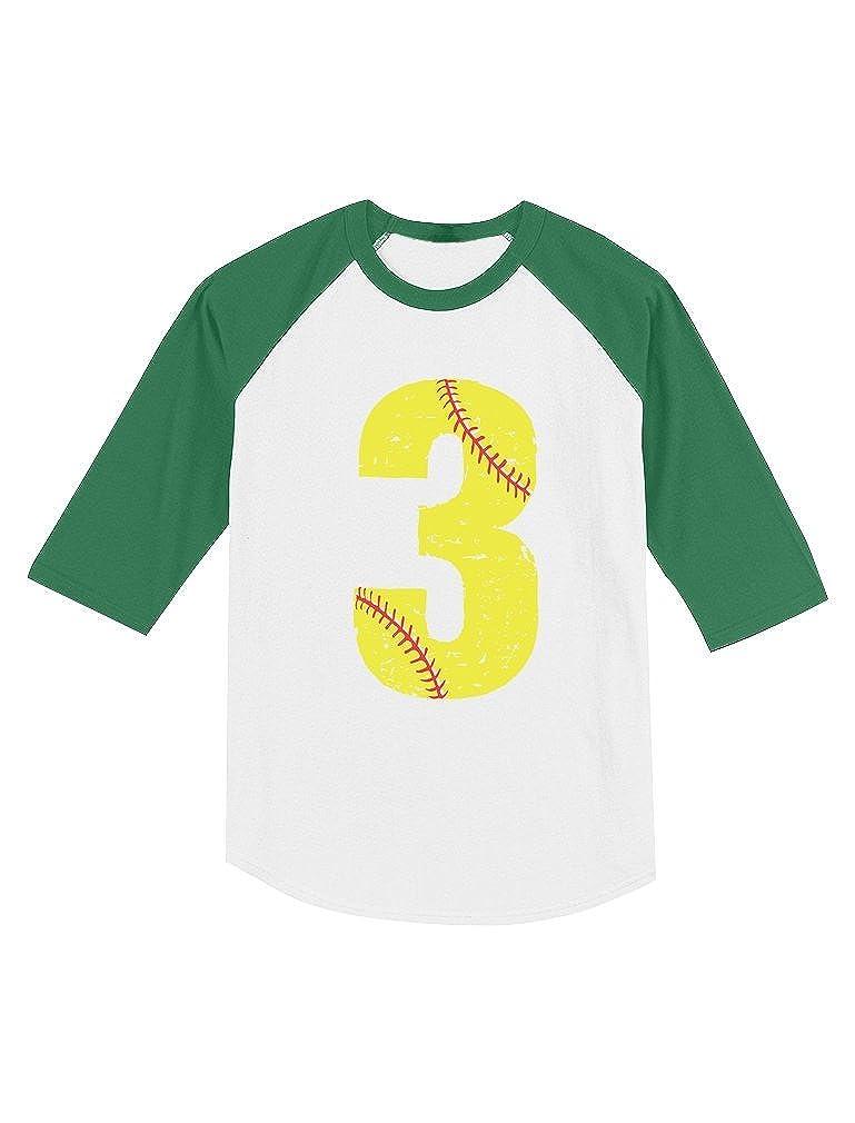Softball 3rd Birthday Gift for 3 Year Old Toddler Raglan 3//4 Sleeve Baseball Tee