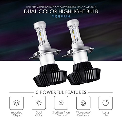 Auxbeam H4 9003 LED Headlight Bulbs NF-B2 Series Bi-color LED Headlight Conversion Kit Bulbs 50W 25W 4000lm PHILIPS Chips 3000k 6500k Hi-Lo Beam (Pack of 2)