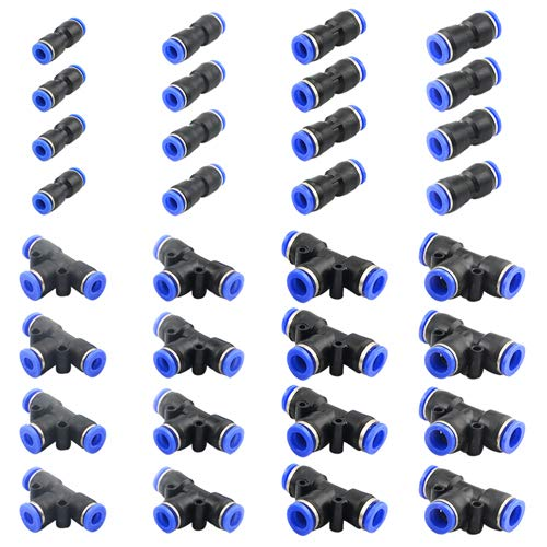 WMYCONGCONG 32 PCS Plastic Push to Connect Fittings Kit Including Straight Push Connector and Tee Push to Connect Tube Fittings