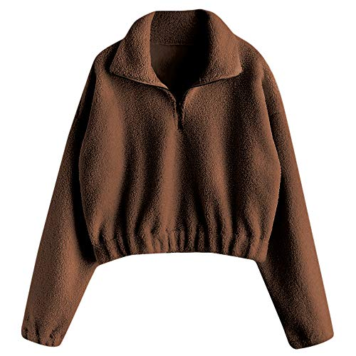 (ZAFUL Women Half Zip Sweatshirt Fluffy Top Pullover Long Sleeve Casual Outwear-Brown,M)