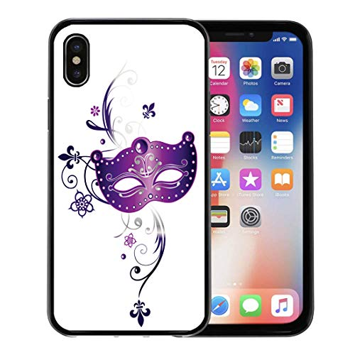 Semtomn Phone Case for Apple iPhone Xs case,Beads Mardi Gras Party Purple Mask Fleur De Lis and Flowers Carnival Celebration for iPhone X Case,Rubber Border Protective Case,Black ()