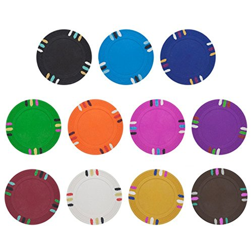 Clay Composite Poker Chips Blank - Claysmith Blank 14gm Clay Poker Chip Sample Set - 11 New Chips!