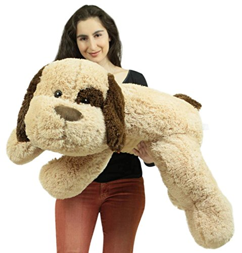 jumbo stuffed puppy dog 46 inches wide big plush soft adorable superior quality stuffed animal. Black Bedroom Furniture Sets. Home Design Ideas