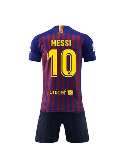 NSFANS Camiseta Jersey Futbol Barcelona 2018-2019 Traje de niños de Manga Corta (Messi