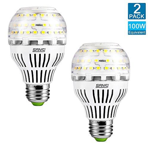 SANSI 100 Watt Equivalent LED Light Bulb A19, 1600 Lumens, 5000K (Daylight), CRI 80+, Medium Screw Base(E26), 270° Omni-directional for General Lighting, Non-Dimmable, 13W (Pack of 2)