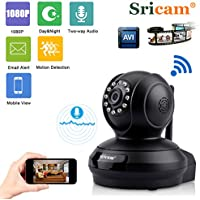 Sricam Wireless IP WIFI Camera Baby Monitor 1080P HD Pan/Tilt Two-Way Audio IR Cut HD Clear Night Vision Home Security Surveillance ONVIF Camera Remote Access With APP Black