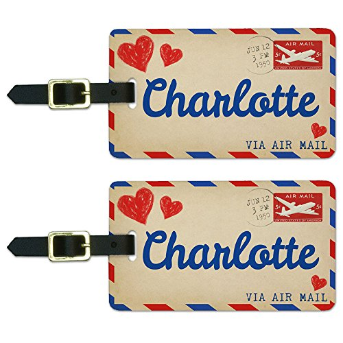 - Graphics & More Air Mail Postcard Love for Charlotte Luggage Suitcase Carry-on Id Tags, White