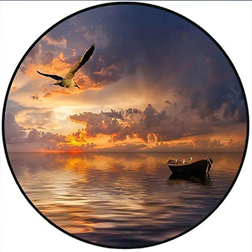 """Short Plush Round Area Rug Landscape Lonely Boat and Bird Against a Sunset at Ocean with Majestic Clouds in Sky Blue Purplegrey Dining Room Bedroom Hallway Home Office 23.6"""" x 23.6"""" Round"""