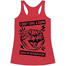 LookHUMAN I Don't Give A Damn About My Repurrtation Heathered Gray Women's Racerback Tank