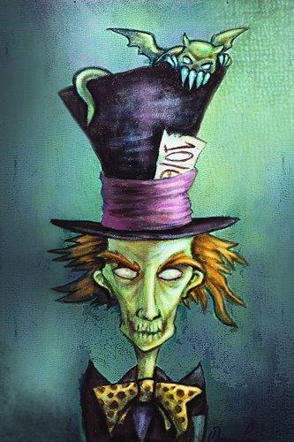 (Black Market Art Mad Hatter by Diana Levin Evil Alice in Wonderland Zombie Fine Art)