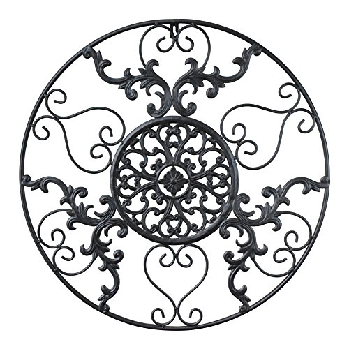 gbHome GH-6775 Metal Wall Decor, Decorative Victorian Style Hanging Art, Steel Décor, Circular Medallion Design, 23.5 x 23.5 Inches, Black Circle (Outdoor Ideas Wall Decor Patio)