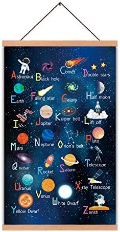 Outer Space Art Print With Wood Magnetic Poster Hanger Frame Astronomy Alphabet Letters Canvas Wall ArtAbstract Universe Educational Poster28X45CM Hanging Painting For Home Classroom Decor